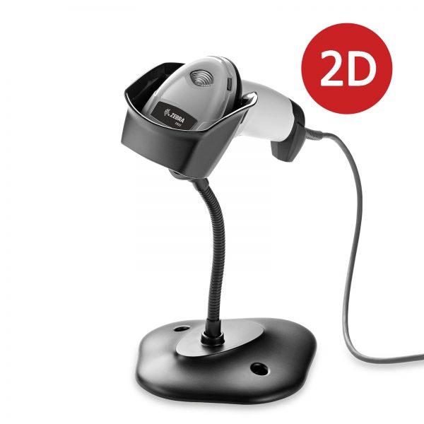 2D баркод скенер Zebra / Symbol / Motorola DS2208 бял със стойка