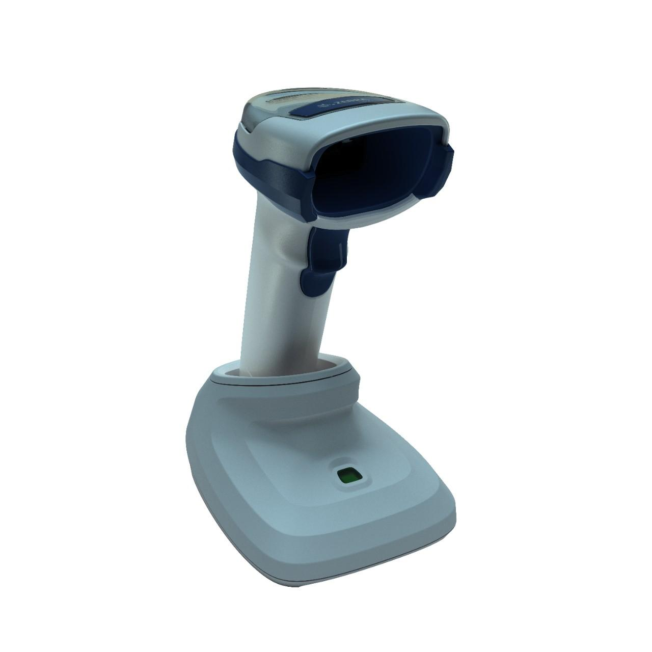 безжичен бял баркод скенер Zebra DS2278 Bluetooth със стойка поглед отстрани