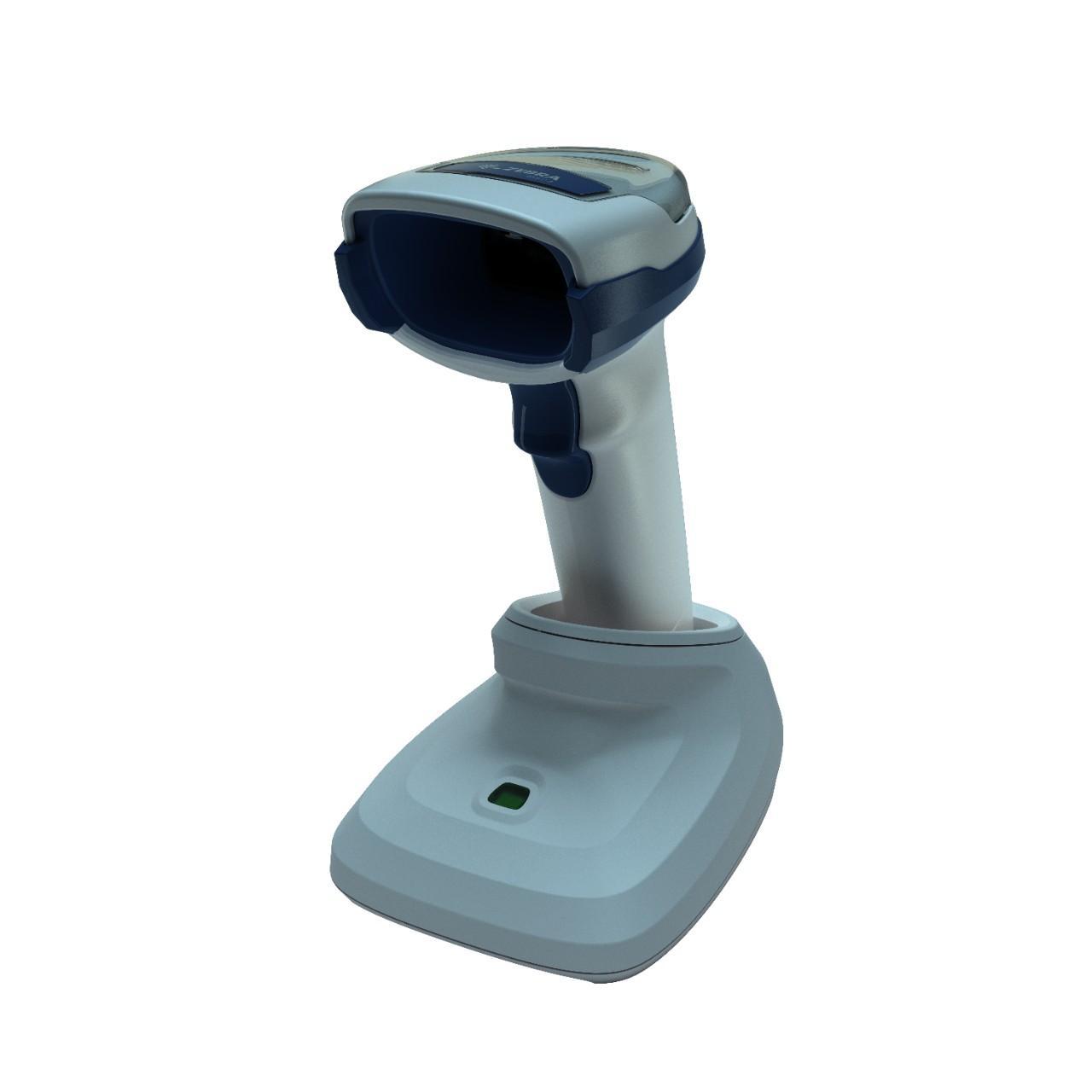 безжичен бял баркод скенер Zebra DS2278 Bluetooth със стойка страничен поглед