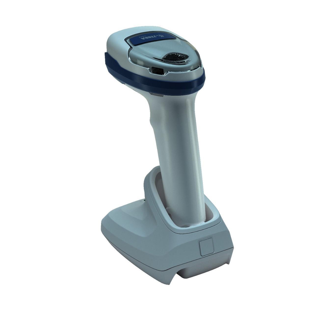 безжичен бял баркод скенер Zebra DS2278 Bluetooth със стойка поглед отзад