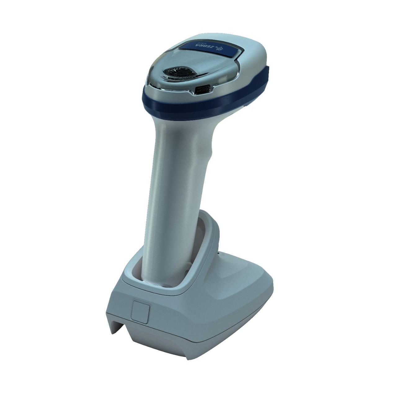 безжичен бял баркод скенер Zebra DS2278 Bluetooth със стойка поглед отзад страничен