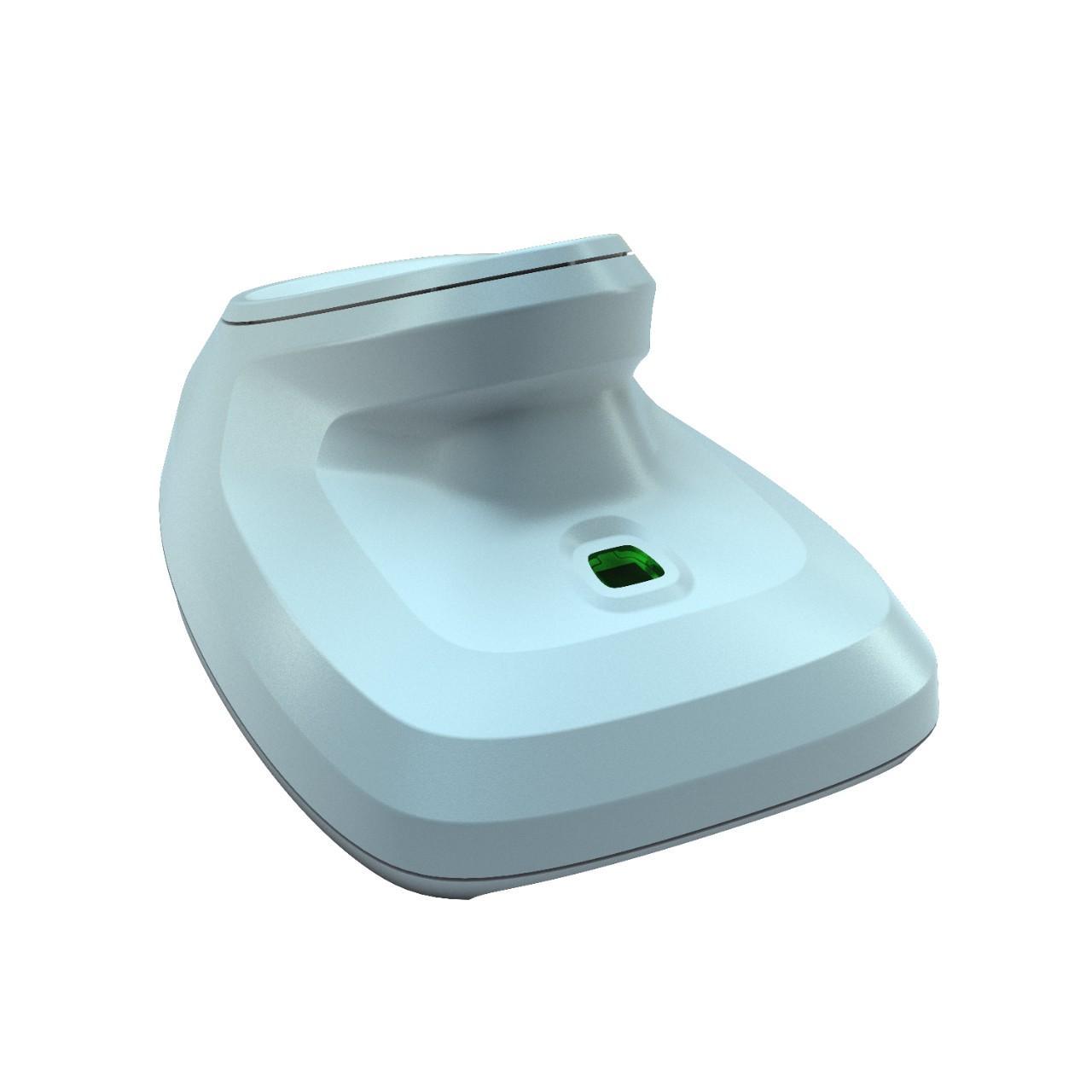 бяла стойка на безжичен баркод скенер Zebra DS2278 Bluetooth поглед отстрани