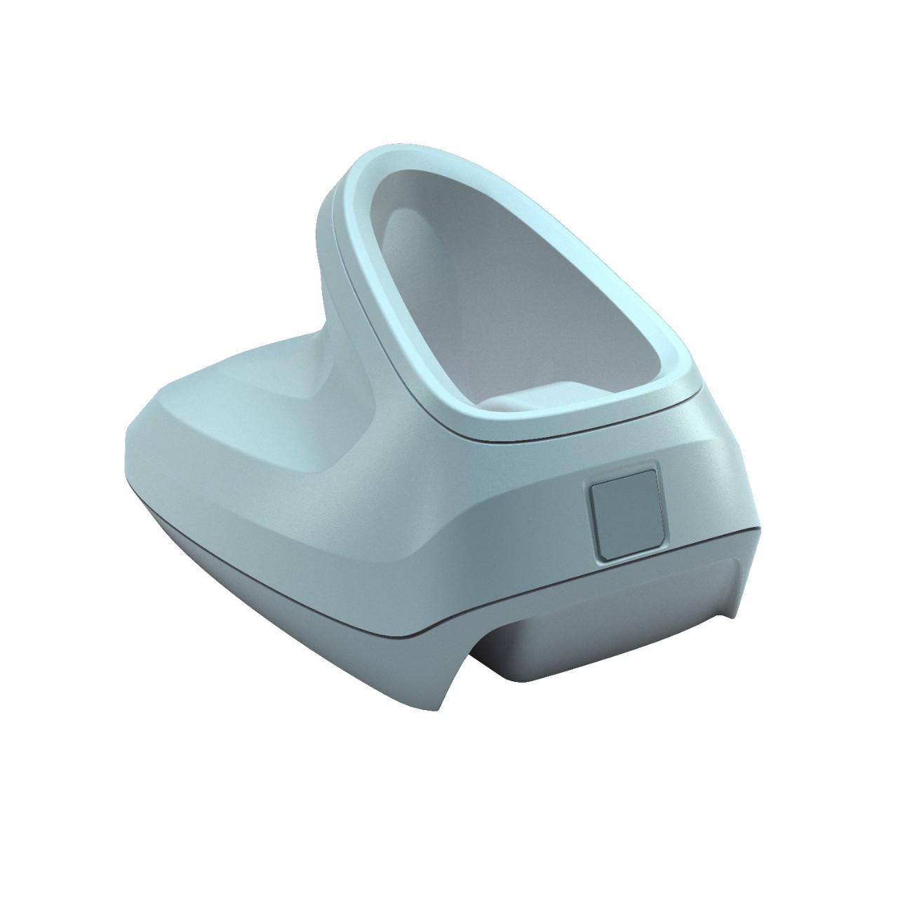 бяла стойка на безжичен баркод скенер Zebra DS2278 Bluetooth поглед отстрани отзад