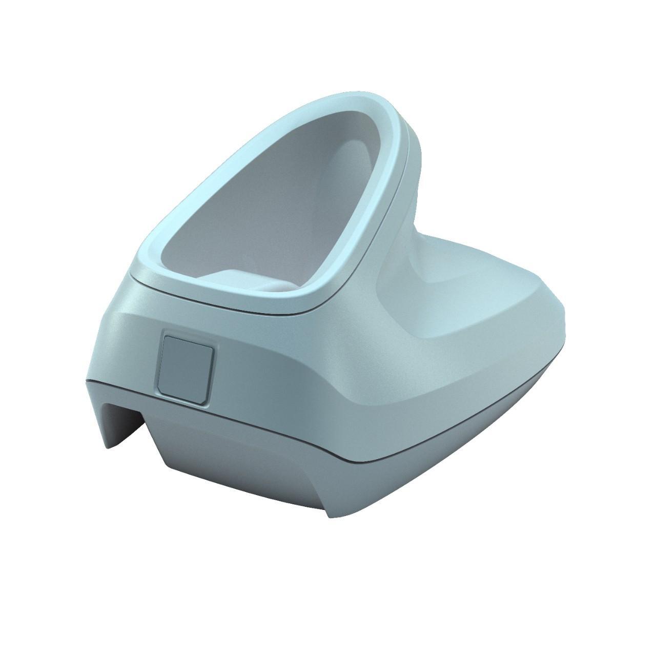 бяла стойка на безжичен баркод скенер Zebra DS2278 Bluetooth поглед отстрани заден