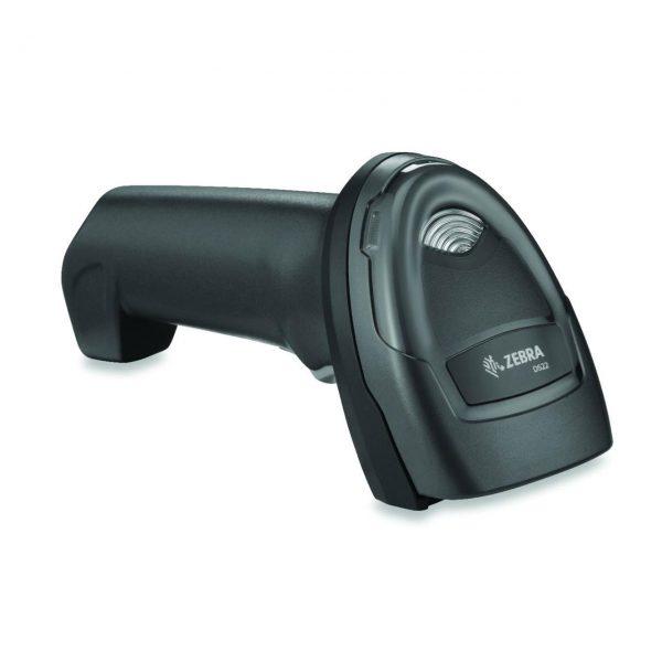 безжичен черен баркод скенер Zebra DS2278 Bluetooth поставен в легнало положение