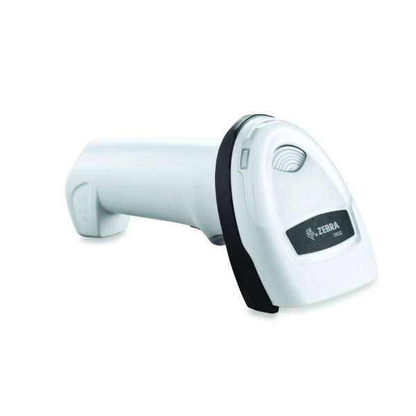 безжичен бял баркод скенер Zebra DS2278 Bluetooth поставен в легнало положение