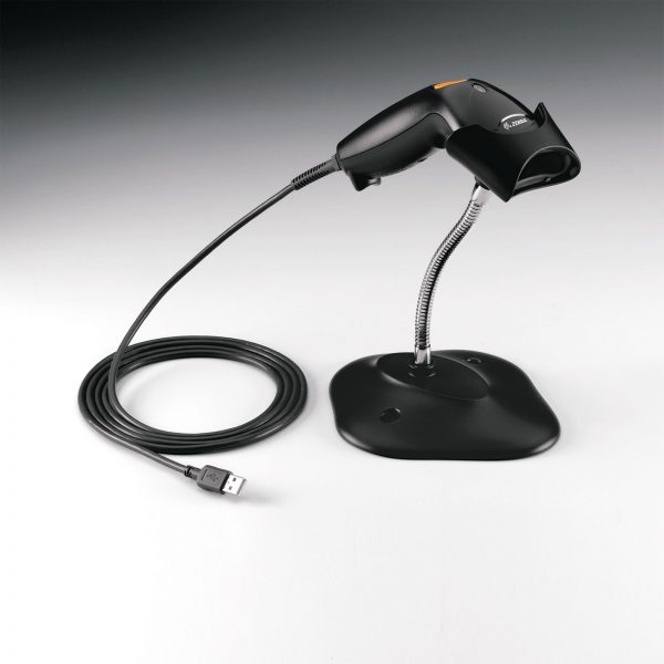 черен лазерен баркод скенер със стойка Zebra (Motorola) LS2103 със стойка