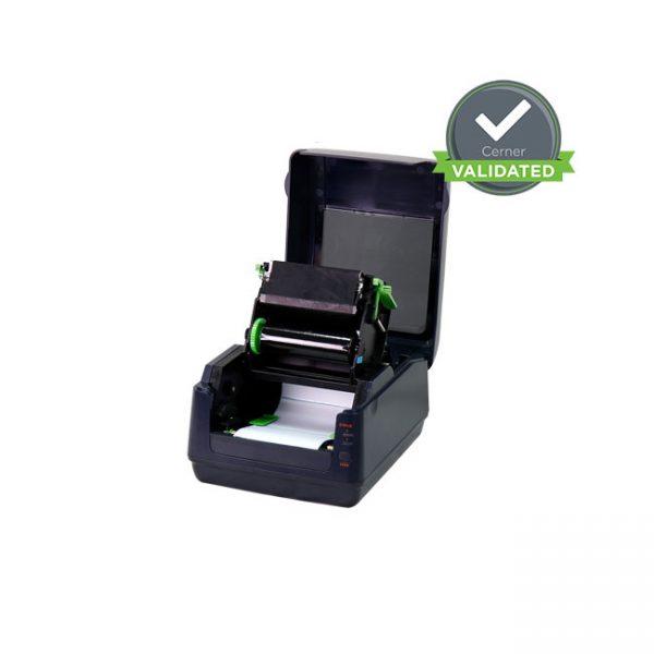 Настолен етикетен принтер Argox P4-350 отворен с лента