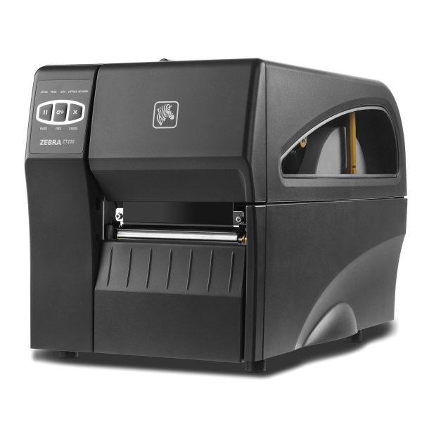 Индустриален етикетен принтер Zebra ZT220 изглед отпред ляво