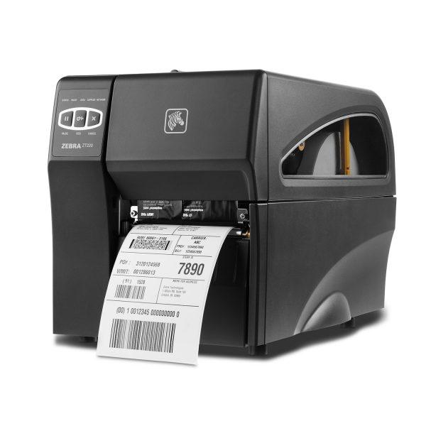 Индустриален етикетен принтер Zebra ZT220 изглед отпред ляво с принтирана бележка