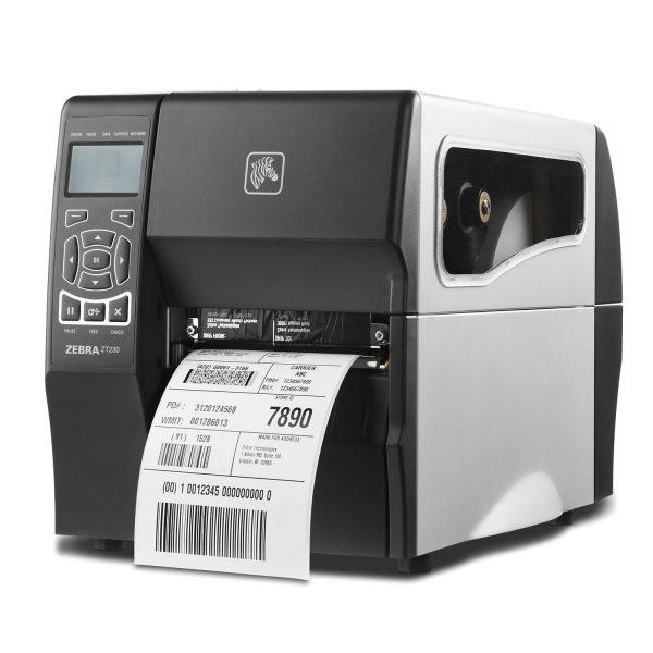 Индустриален етикетен принтер Zebra ZT230 изглед отпред ляво с принтирана бележка